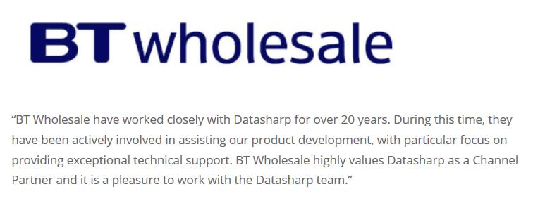 BT Wholesale Datasharp Testimonial