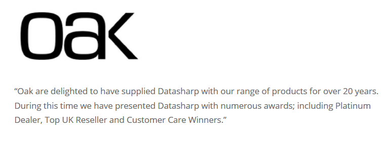 Oak Innovation Datasharp Testimonial